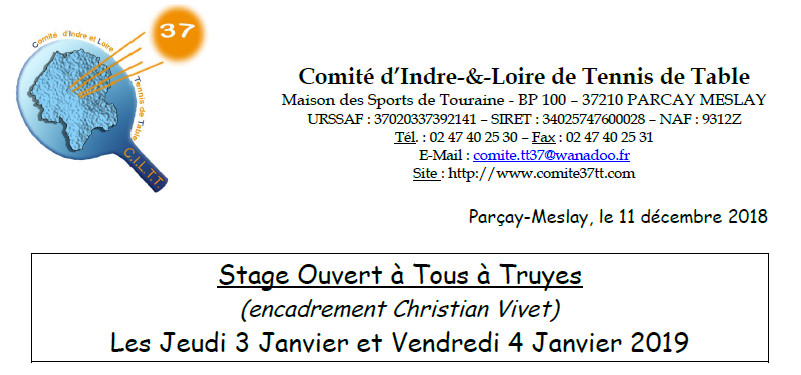 Stage ouvert à tous à Truyes