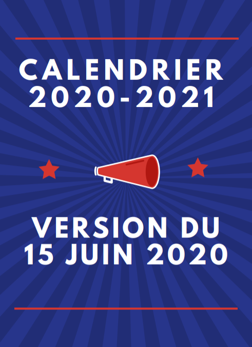 Calendrier sportif 2020 2021 Version 3 au 21 Septembre 2020
