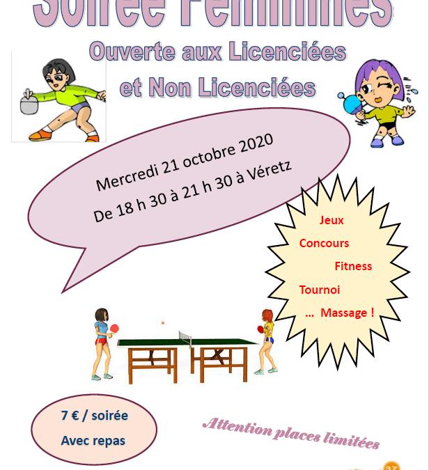 Soirée Féminine Mercredi 21 Octobre 2020