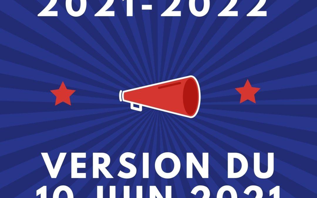 Le Calendrier sportif 2021-2022 MAJ 10.06.21
