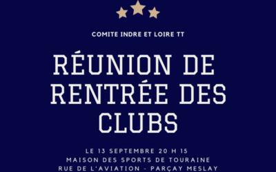 Réunion de rentrée des clubs – Lundi 13 Septembre 2021
