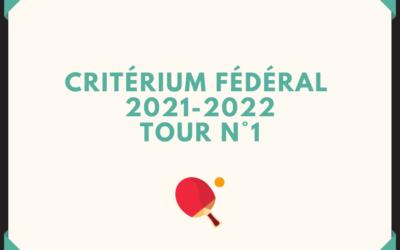 1er Tour Critérium Fédéral 8 au 10 Octobre 2021